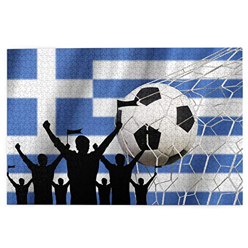 DIY Home Decoration Picture Puzzles for Kids Adult Silhouettes Soccer Fans Flag Greece Cheer 1000 Jigsaw for Educational Intellectual Fun Family Games
