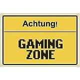 Fun-Schild Achtung! - Gaming Zone aus PVC Hartschaum Platte 300x200 mm - 3 mm stark - Lustig -...