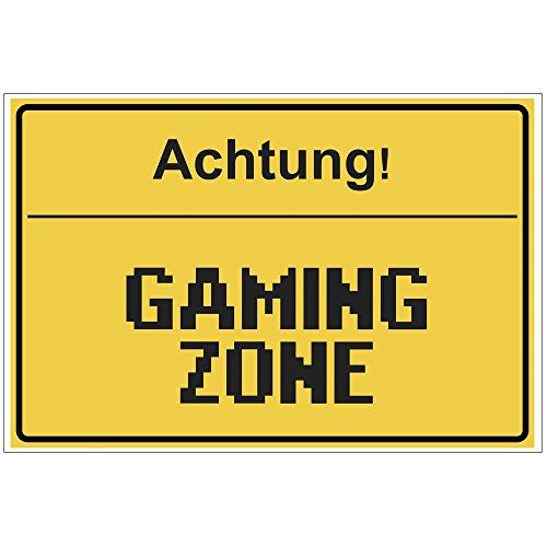 Fun-Schild Achtung! - Gaming Zone aus PVC Hartschaum Platte 300x200 mm - 3 mm stark - Lustig - Türschild - Regenbogen