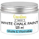 Creative DECO 125 ml Blanca Pintura a la Tiza para Muebles Chalk Paint | Mate y Lavable | para Renovación, Decoración, Decoupage, Manualidades | Posible Efecto de Barrido y Gradiente