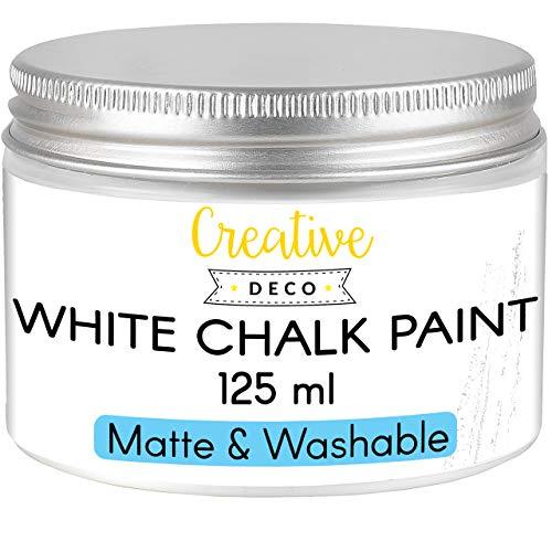 Creative Deco Weiß Kreide-Farbe | 125 ml-Dose | Perfekt für Landhaus-Stil, Vintage-Stil, Decoupage, Möbel-Renovierung | Matt & abwaschbar | Wisch-Effekt und Gradient-Effekt möglich