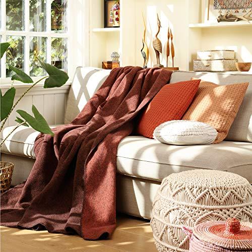 Biederlack Decke Sofaüberwurf Wolle Terracotta 150x200 cm