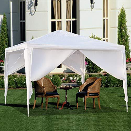 LAMF Carpa de 3 x 3 m, portátil, impermeable, con tubos en espiral, para patio, fiesta y evento, color blanco