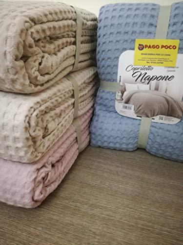 PAGO POCO Tagesdecke für Frühling und Sommer für Doppelbett, 100 % Baumwolle, Wabenmuster, einfarbig, Hellblau