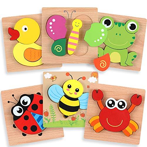OleOletOy Holzpuzzle für Kinder ab 1 Jahr - 6 STK. Steckpuzzle Pädagogisches Spielzeug mit Aufbewahrungstasche für Baby - Puzzlespiel Set Geschenk Bunte Tierpuzzle