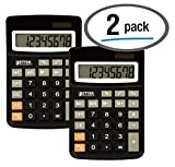 Desktop Calculators, Handheld Angled 8-Digit LCD Display, 2 Pack, by Better Office Products, Standard Function, Black,...