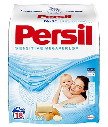 Persil Sensitive Megaperls, Vollwaschmittel, 90 (5 x 18) Waschladungen für Allergiker und Babies, hautfreundlich