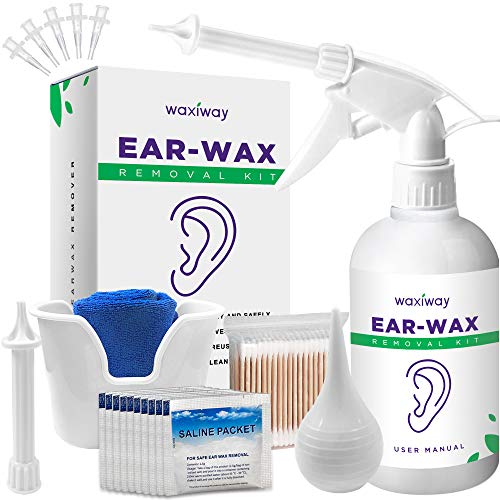 WAXIWAY Ear Wax Removal Kit – Ear Cleaning Kit with Spray Bottle, Ear Syringe, Basin, Cotton Swabs, Disposable Tips, Soft Towel and Salt Solution Packets – Eliminate Earwax Discreetly at Home