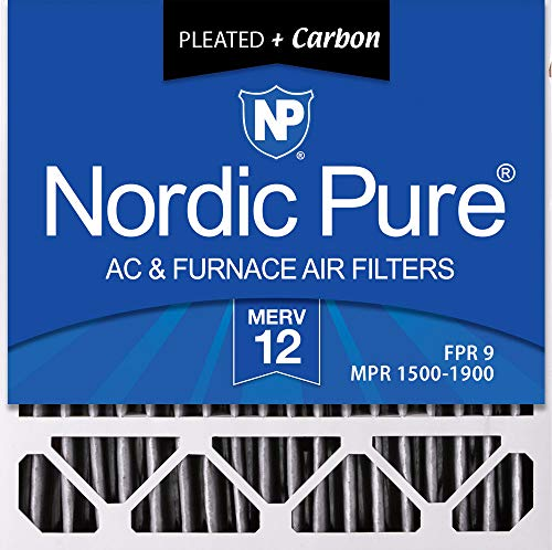 Nordic Pure 20x20x5 (4-3/8 Actual Depth) MERV 12 Pleated Plus Carbon Honeywell FC100A1011 Replacement AC Furnace Air Filter, 2 Pack
