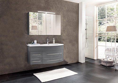 SAM Badmöbel Dali, 2tlg. Badezimmer Set in Grau Hochglanz, Waschplatz mit Mineralgussbecken in 110 cm Breite und 1 Spiegelschrank, Softclose-Funktion