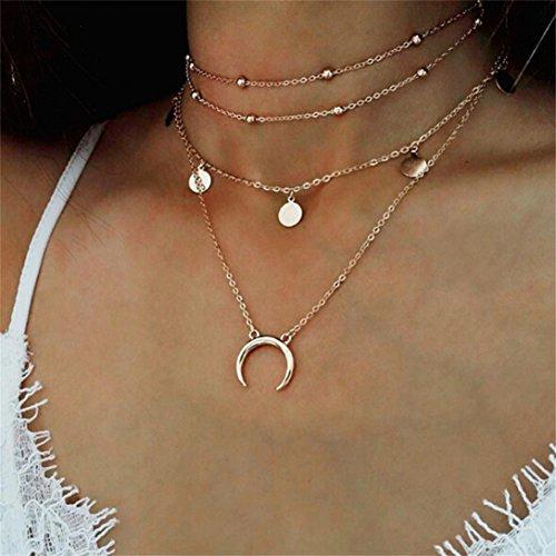 Elistelle Halskette Choker Mehrreihig Kette mit Anhänger Mond Muster Halsband Ketten Für Damen