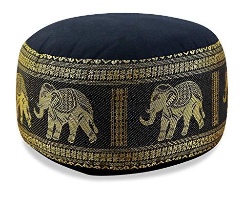 livasia Kapok Zafukissen, Sitzkissen, Yogakissen, Bodensitzkissen, Meditationskissen (schwarz-Elefanten)