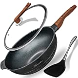 Wok Pan Nonstick 13.4 Inch Skillet, Aneder Frying Pan with Lid & Spatula Wok Pans for Cooking...
