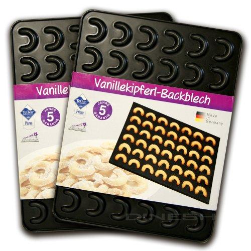 Zenker Vanillekipferl Backblech Backen Backform 42x32x1,4 cm für 42 Kipferl