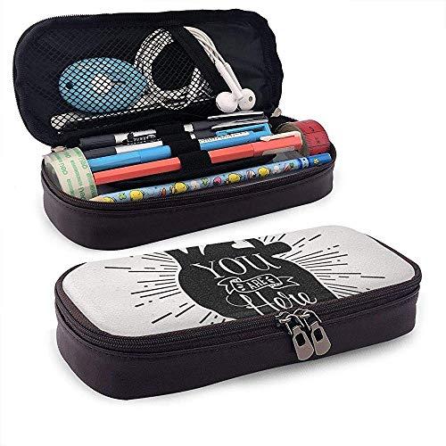 Caja de lápices de cuero con letras de amor de corazón humano, caja de lápices con cremallera, caja de papelería de gran capacidad