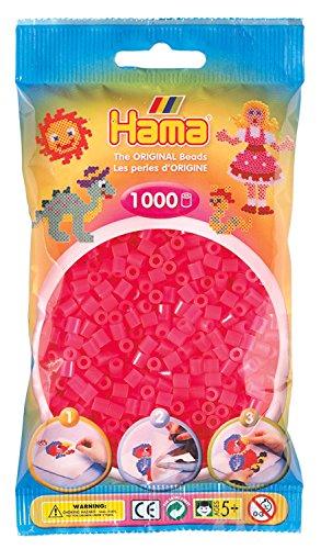 Hama 207-32 - Bügelperlen im Beutel, ca. 1000 Stück, neon-fuchsia