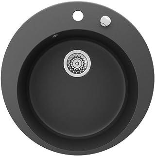 Bergström Granitspüle rund Durchmesser 505mm inkl. Siphon Küchenspüle Einbauspüle Schwarz