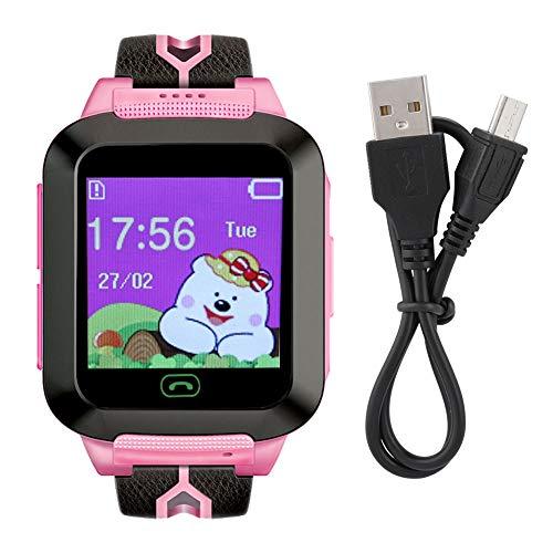 Kid LBS + GPS Smart Watch 1.44in Touch Impermeabile Child Guard con Allarme SOS Voice Chat, Cronometro per Bambini Adolescenti Studenti età 3-12(Nero + Rosa)