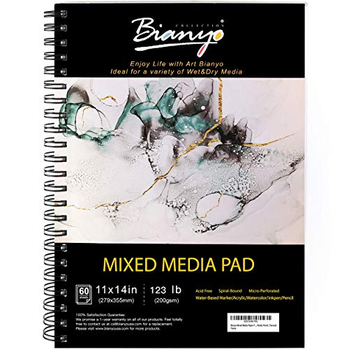 Bianyo Mixed Media Paper Pad, 11' X 14', 60 Sheets/Each, 123 LBS/200 GSM, Spiral-Bound Pad, Micro-Perforated, Ideal for Wet & Dry Media Like Art Marker, Watercolor, Acrylic, Pastel, Pencil, Charcoal
