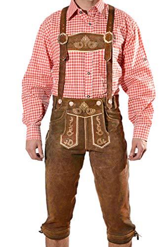 Bayerische Herren Trachten Lederhose, Trachtenlederhose mit Trägern, Oktoberfest in Mittelbraun Größe 50