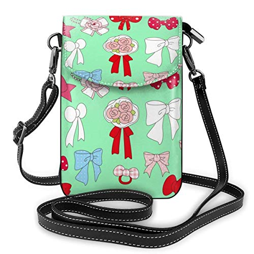 Lawenp Lovely Cartoon Bow Crossbody Phone Purse Small Mini Shoulder Bag Cell Phone Pouch Leather Wallet For Women Girls