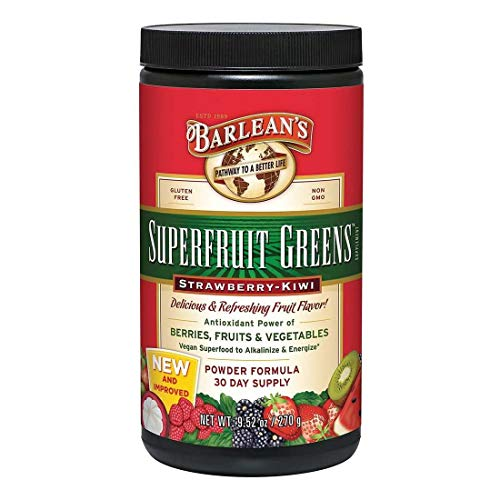 Barleans Superfruit Greens Powder with Antioxidant Power of Berries, Fruits, and Vegetables - Vegan, Non GMO, Gluten Free - 9.52-Ounce