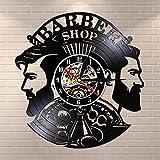 Regalos para Hombres Suministros de barbería Reloj de Vinilo Peluquero Profesión Arte de la Pared...