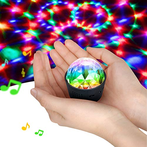 Disdarkday Mini Discokugel Licht, Stimme Steuerung Disco Party Lichter Bühnenbeleuchtung Effektlicht DJ Stroboskop Kugel mit Spiegeln & Glitzereffekt für Weihnachten, Kinder, Kinderzimmer, Party