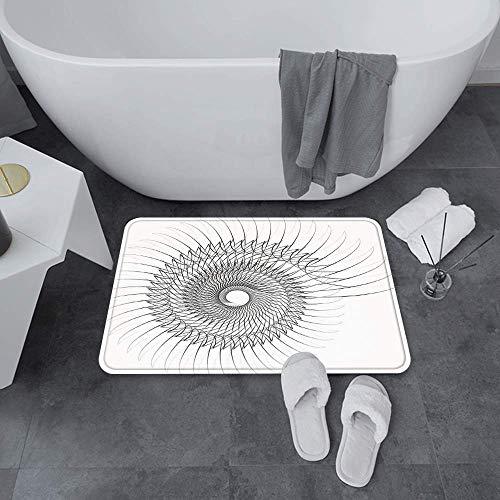 Super weiche Badewanne Teppiche Bodenmatte, Spitzen-Dekor, authentische geometrische Drehspirale mit Helix-Element und R, Wasserabsorbierende Bade-Matte Anti-Skid-Schlafzimmer, Teppich geeignet für Ba