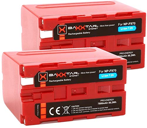 2X Baxxtar Pro - Compatible con batería Sony NP-F970 (Real 7800mAh)