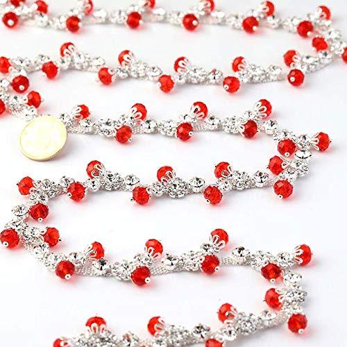AUBERSIT Cadena de Diamantes de imitación de Cristal de Lujo para Coser de 1 Yarda, Accesorios para Vestidos de Novia DIY, decoración de Ropa, A