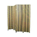 HOGAR Y MAS Biombo Separadaor 4 Paneles, Madera Bambú Natural y Papel Trenzado, Plegable 180 cm