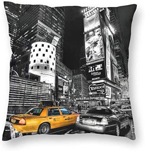 WHEYT Fundas de Almohada cuadradas Decorativas de la Ciudad de Nueva York Vintage, Funda de cojín de 16X16 Pulgadas para la decoración del Banco del sofá del hogar