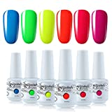 Vishine Vernis Gel Semi-Permanent, lot de 6 Couleurs néon Jaune Rouge Rose Bleu Vert Vernis à Ongles Gel UV LED Soak Off Ensemble Couleurs de Vernis Nail Art cadeau coffre