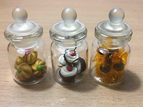 Mr_air_thai_Miniature Miniatur-Kuchen-/Keksdose, Süßigkeiten-/Puppenhaus-Kuchen/Kuchen, aus transparentem Glas, Obst-Mix, Zitronengelb #MF008