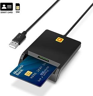 Lector de Tarjetas Inteligente USB Smartcard Reader, Lector de Tarjetas SIM Doble Ranura, Lector DNI electrónico, LED de conexión Estado, Compatible con Windows, Linux, Mac OS