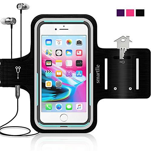 Smartlle Sportarmband für iPhone 12 11 Pro Max/XR/XS MAX/8 Plus/7 Plus/6S Plus, Samsung Galaxy A/S/Note, LG, Huawei, Bis Zu 6.9''. Running, Workout & Joggen Laufen Armband-Handyhalter Case(schwarz)