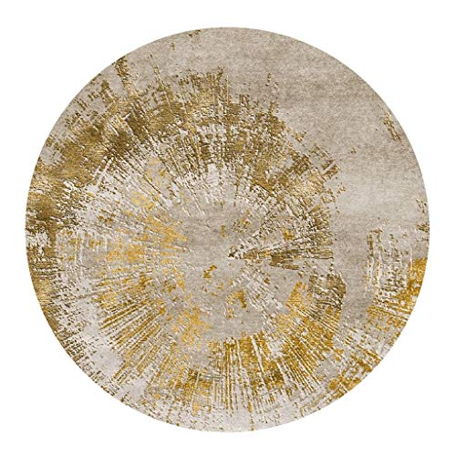 YJRBZ Contemporary Gray and Gold Round Rug Round Carpet Living Room Coffee Table Blanket Bedroom Circular Hanging Basket Mat Computer Chair Cushion (Size : Diameter 120cm)