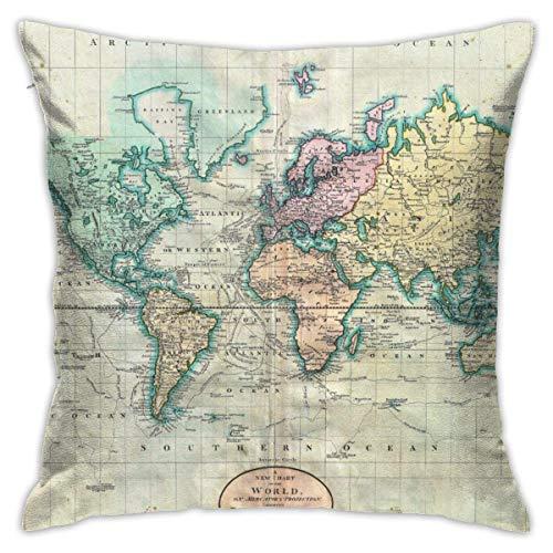 Fundas de almohada decorativas de 45 x 45 cm, diseño de mapamundi de estilo vintage y colorido para el hogar, sofá, dormitorio, sala de estar