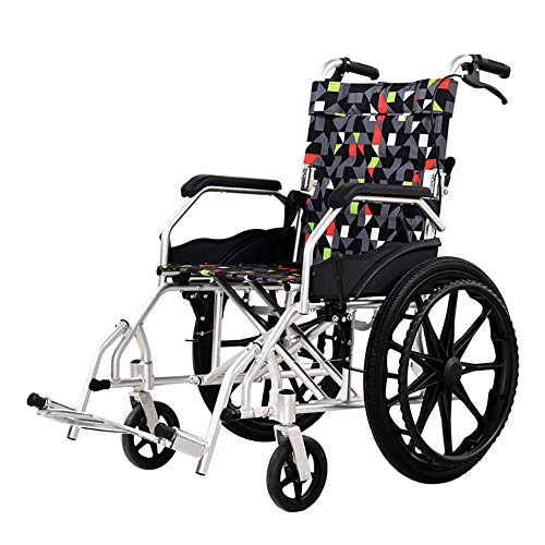 Wheelchair Silla de Ruedas Manual Desmontable del Equipo médico portátil Plegable de Peso Ligero cuadripléjico del Hospital de Aluminio de la aleación,20inches