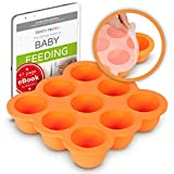 KIDDO FEEDO - Das original Gefriertablett zum Einfrieren und Aufbewahren von Babynahrung/Babykost in Portionen und als Behälter für Babybrei mit Silikondeckel - Gratis eBook - Orange