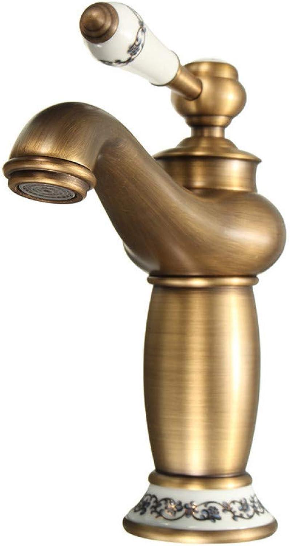 ZHFJGKR&ZL Antique Silver Concise Bathroom Faucet Antique Bronze Finish Brass Basin Sink Faucet Single Handle Water Taps