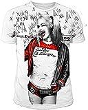 Suicide Squad DC Comics - Camiseta para Hombre (Tallas S-XL), diseño de Harley Quinn Sublimation, Color Blanco Blanco XL