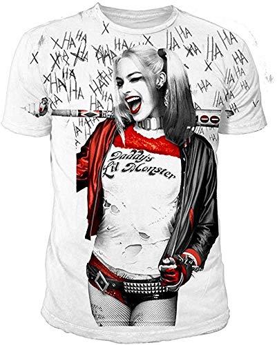 Suicide Squad DC Comics Harley Quinn Sublimation - Camiseta para hombre (S-XL), color blanco Blanco XL