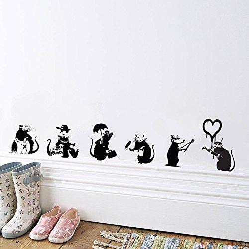 V & C Designs™ Wandaufkleber Banksy Ratten-Kollektion, für Salon, Wohnzimmer, Esszimmer, Küche, Schlafzimmer, aus Vinyl