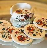 Marmor-Tee-Untersetzer-Set Kaffee-Untersetzer Set Carneol & Malachit Edelsteine für Royal Look Büro Tisch-Zubehör Untersetzer Größe – 8,9 cm Halter Größe 11,4 cm