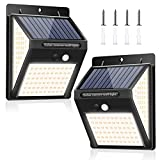 [2 Pack] Solar Lights Outdoor, 140 LED Solar Motion Sensor Lights, IP65 Waterproof Solar Security Lights with 3 Intelligent Lighting Modes, Easy to Install, for Outside, Yard, Garden (Warm White)