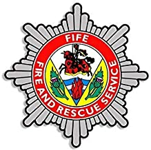 Magnet 4x4 inch Fife Fire Rescue Service Crest Shaped Sticker (Badge UK Firefighter) Magnetic Magnet Vinyl Sticker