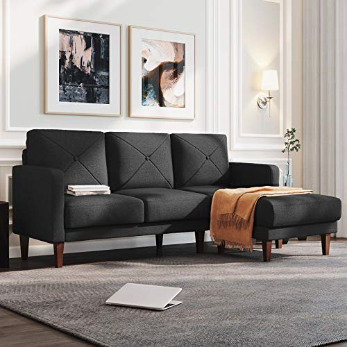 Belffin Convertible Sectional Sofa Couch with Chaise L Shaped Sofa Couch Reversible Sofa Couch Dark Grey