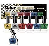 Juego de 6 esmaltes de uñas de colores con purpurina, de la marca Shine
